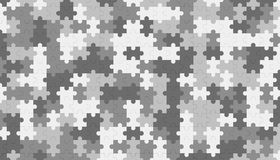 Grey jigsaw puzzle blank template, pattern texture background. 3d illustration Stock Photography
