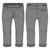 Grey joggers with elasticized ribbing and drawstring at waist. Front and back view of grey joggers with elasticized ribbing and drawstring at waist stock illustration