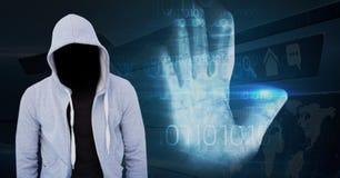 Grey jumper hacker, hand scan Stock Images