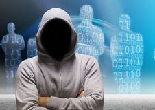Grey jumper hacker with his hands folded, binary code people background. Digital composite of Grey jumper hacker with his hands folded, binary code people stock illustration