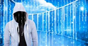 Grey jumper hacker, light blue server. Digital composite of Grey jumper hacker, light blue server Royalty Free Stock Photo