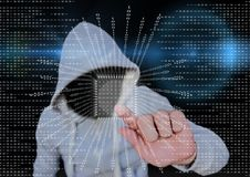Grey jumper hacker with out face blue blurred background and binary code with square. Stock Photography