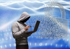 Grey jumper hacker with out face with the credit card and computer in code sea with lock. Digital composite of Grey jumper hacker with out face with the credit Royalty Free Stock Photos