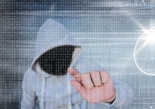 Grey jumper hacker with out face. Grey and binary code background. Digital composite of Grey jumper hacker with out face. Grey and binary code background Royalty Free Stock Photography