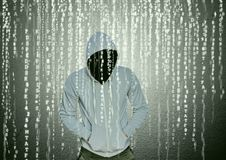 Grey jumper hacker with out face with his hands on his pockets. Digital composite of Grey jumper hacker with out face with his hands on his pockets Stock Photography