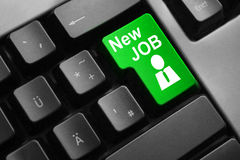Grey keyboard green button new job Royalty Free Stock Photography