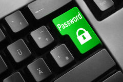 Grey keyboard green button password lock symbol Stock Photo