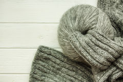 Grey knitted material Royalty Free Stock Photo