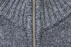 Grey Knitted Sweater With Silver Metal Zipper Royalty Free Stock Images