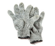Grey knitted winter gloves Stock Photo