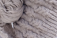 Grey knitting details Royalty Free Stock Images