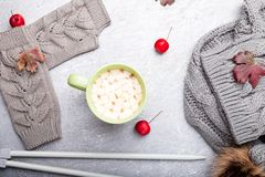 Grey knitting gloves, scarf, hat and needles around cup of coffee with marshmallow on grey background. Top view. Copy space. Knitt. Ing yarn stock photo