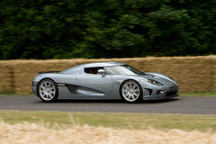 Grey koenigsegg ccx-r edition. On track at goodwood festival of speed stock image