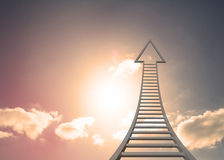 Grey ladder arrow pointing Royalty Free Stock Photos