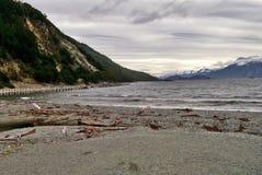 Grey Lake och berg i söderna av Chile Arkivbilder