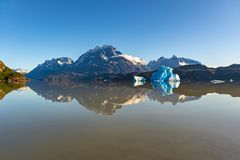 Grey Lake Reflection, Torres del Paine national park stock photos