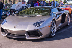 Grey Lamborghini on exhibition parking at an annual event Superc Royalty Free Stock Images