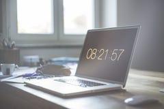 Grey Laptop Computer Set at 08:21:57 Stock Photos