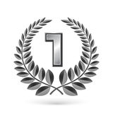 Grey laurel with number one Royalty Free Stock Photo