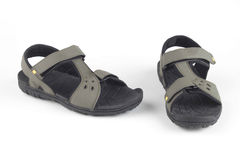 Grey leather sandals Stock Photos