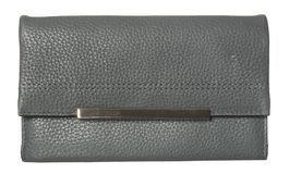 Grey Leather Wallet Royalty-vrije Stock Foto