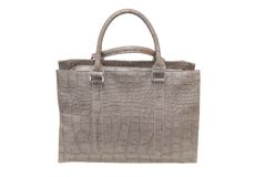 Grey leatherette handbag. Stock Images