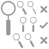 Grey lens and marks icons. Royalty Free Stock Photos