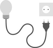 Grey light bulb with plug and outlet Royalty Free Stock Photo