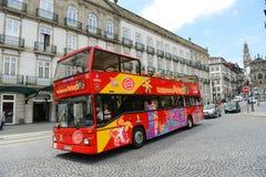 Grey Line tour bus in Porto, Portugal.  Stock Photos