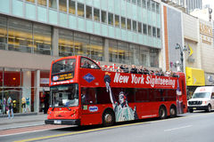 Grey Line tour bus at 34th street in NYC. Grey Line tour bus at 34th street in New York City, USA Royalty Free Stock Image