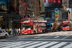 Grey Line tour bus at times square in NYC. Grey Line tour bus at times square in New York City, USA Royalty Free Stock Photos