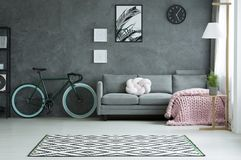 Grey living room with bicycle. White knot pillow and pink knit blanket on grey settee in living room interior with bicycle and posters Stock Images