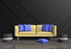 Grey living room are decorated yellow sofa, blue pillows, grey chair, black wood wall Stock Photos