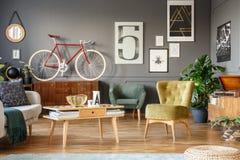 Grey living room interior stock photo