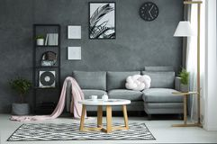 Grey living room interior. Pink blanket on sofa and round table on patterned rug in grey living room interior with poster on the wall Royalty Free Stock Photo
