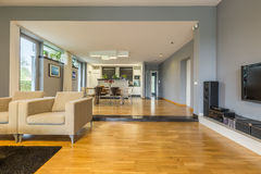 Grey living room with open dining room. Spacious grey living room combined with open dining room Stock Images