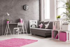 Grey living room with pink and white details. Spacious interior in grey, pink and white with desk, office, lamp, sofa and bookcase Stock Image