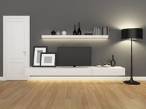 Grey living room with tv stand and bookcase Royalty Free Stock Photo