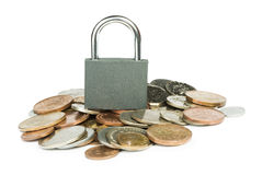 Grey locked padlock and coins Royalty Free Stock Image