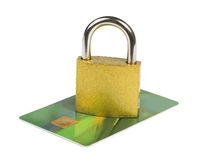 Grey locked padlock and credit cards. Royalty Free Stock Photo