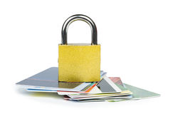 Grey locked padlock and credit cards. Stock Image