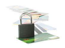 Grey locked padlock and credit cards. Stock Photography