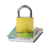 Grey locked padlock and credit cards. Royalty Free Stock Photography