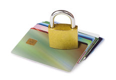 Grey locked padlock and credit cards. Royalty Free Stock Images