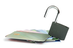 Grey locked padlock and credit cards. Royalty Free Stock Photos