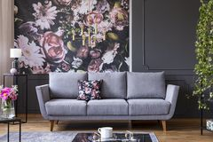 Grey lounge with patterned cushion in real photo of dark living. Room interior with floral wallpaper, molding on the wall and gold lamp royalty free stock photo