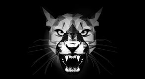 Grey Low Poly Puma no fundo preto Fotografia de Stock Royalty Free