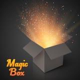 Grey Magic Box con i coriandoli e la luce di magia Op magico realistico Fotografie Stock