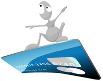 Grey man is surfing on a credit card. Stock Photography