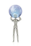 Grey mannequin holding a globe Royalty Free Stock Photography